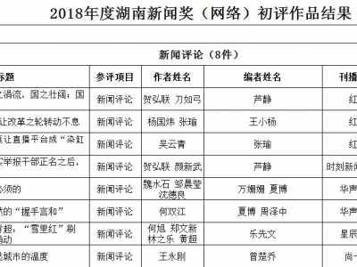 新闻奖网络作品介绍 2018年度湖南新闻奖网络作品初评结果公示